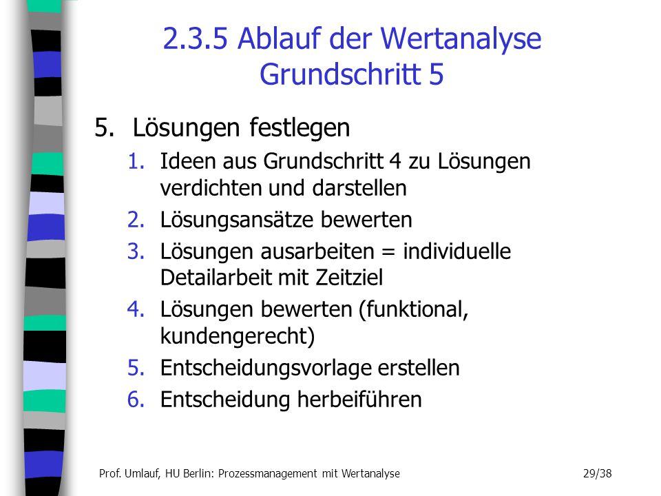 Prof. Umlauf, HU Berlin: Prozessmanagement mit Wertanalyse 29/38 2.3.5 Ablauf der Wertanalyse Grundschritt 5 5.Lösungen festlegen 1.Ideen aus Grundsch