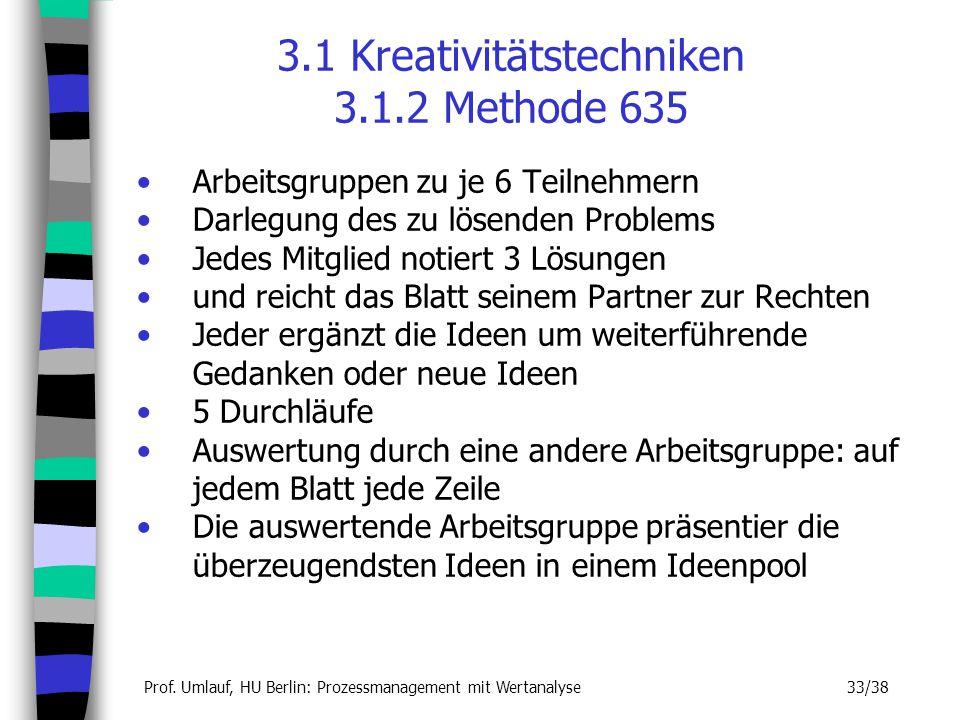 Prof. Umlauf, HU Berlin: Prozessmanagement mit Wertanalyse 33/38 3.1 Kreativitätstechniken 3.1.2 Methode 635 Arbeitsgruppen zu je 6 Teilnehmern Darleg