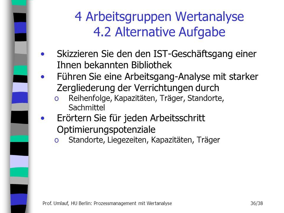 Prof. Umlauf, HU Berlin: Prozessmanagement mit Wertanalyse 36/38 Skizzieren Sie den den IST-Geschäftsgang einer Ihnen bekannten Bibliothek Führen Sie
