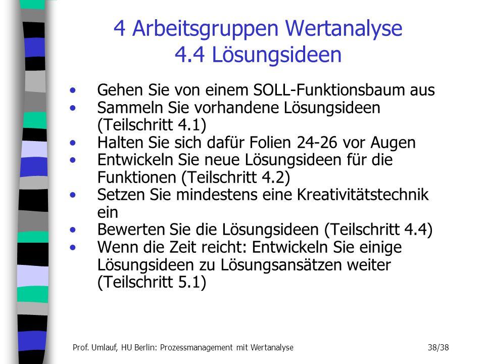 Prof. Umlauf, HU Berlin: Prozessmanagement mit Wertanalyse 38/38 4 Arbeitsgruppen Wertanalyse 4.4 Lösungsideen Gehen Sie von einem SOLL-Funktionsbaum