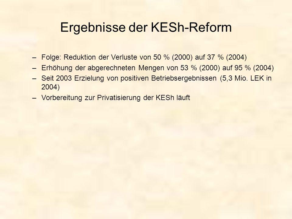 Ergebnisse der KESh-Reform –Folge: Reduktion der Verluste von 50 % (2000) auf 37 % (2004) –Erhöhung der abgerechneten Mengen von 53 % (2000) auf 95 %