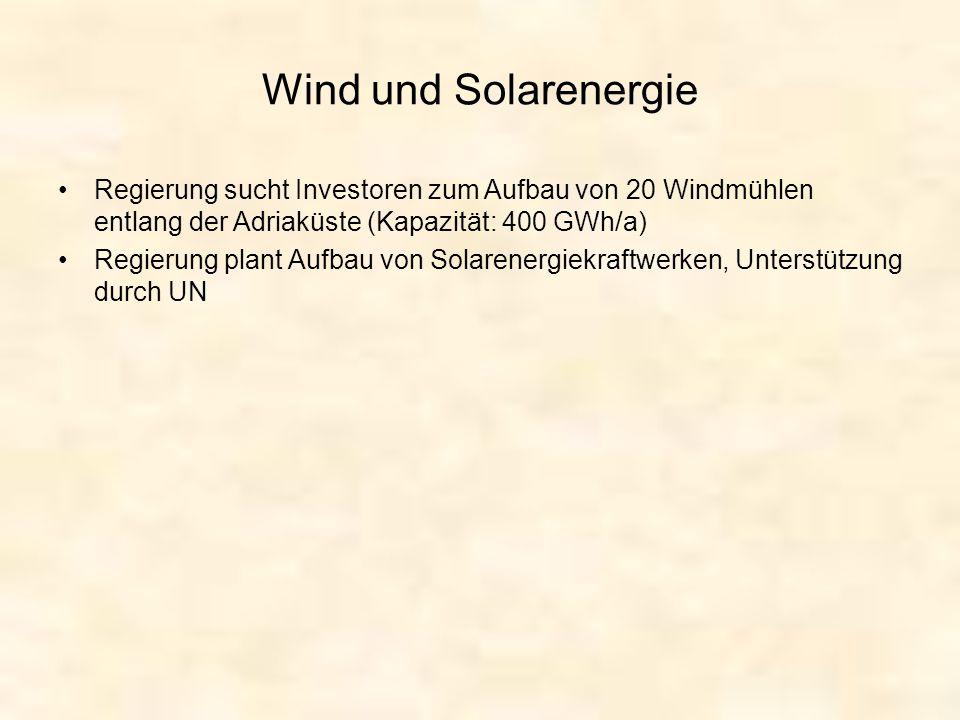 Wind und Solarenergie Regierung sucht Investoren zum Aufbau von 20 Windmühlen entlang der Adriaküste (Kapazität: 400 GWh/a) Regierung plant Aufbau von