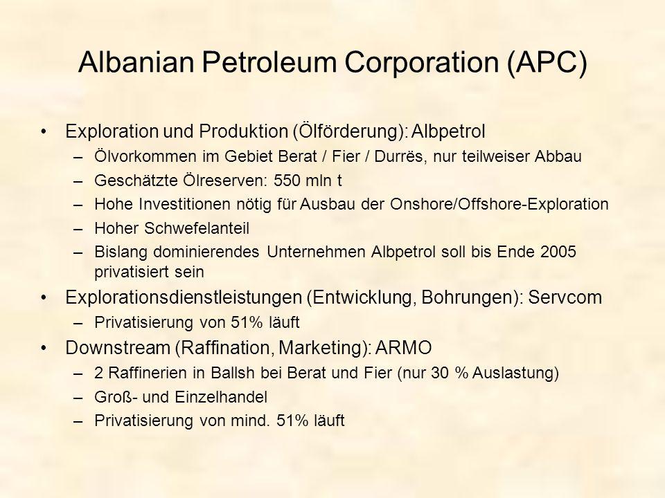 Albanian Petroleum Corporation (APC) Exploration und Produktion (Ölförderung): Albpetrol –Ölvorkommen im Gebiet Berat / Fier / Durrës, nur teilweiser