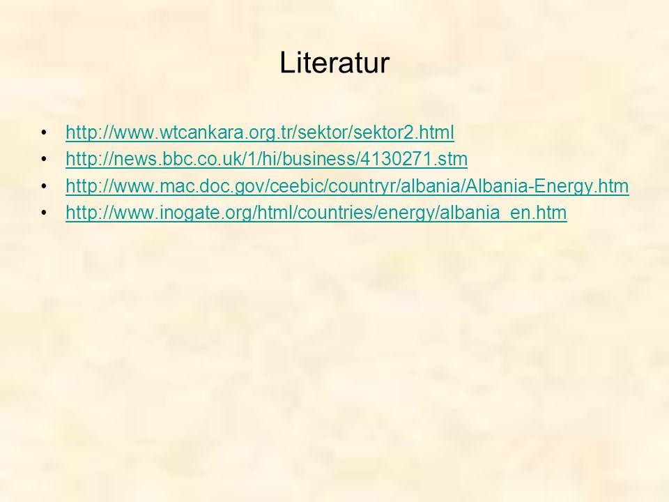 Literatur http://www.wtcankara.org.tr/sektor/sektor2.html http://news.bbc.co.uk/1/hi/business/4130271.stm http://www.mac.doc.gov/ceebic/countryr/alban