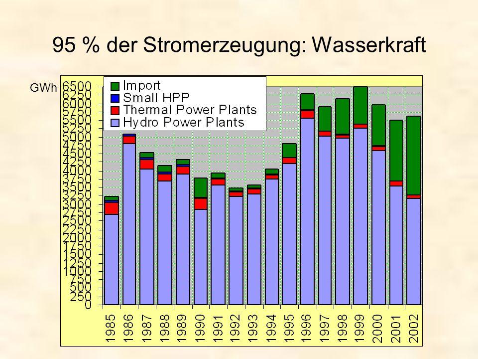 95 % der Stromerzeugung: Wasserkraft GWh