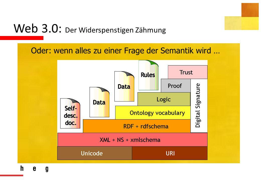 Web 3.0: Der Widerspenstigen Zähmung Oder: wenn alles zu einer Frage der Semantik wird …