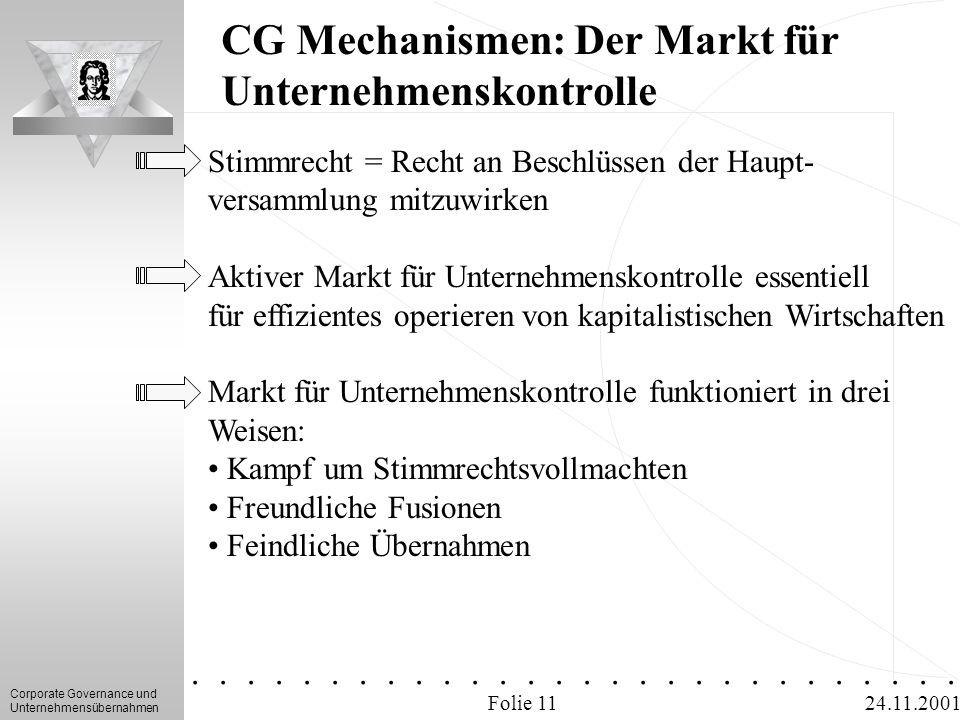 Corporate Governance und Unternehmensübernahmen.............. 24.11.2001 CG Mechanismen: Der Markt für Unternehmenskontrolle Folie 11 Stimmrecht = Rec