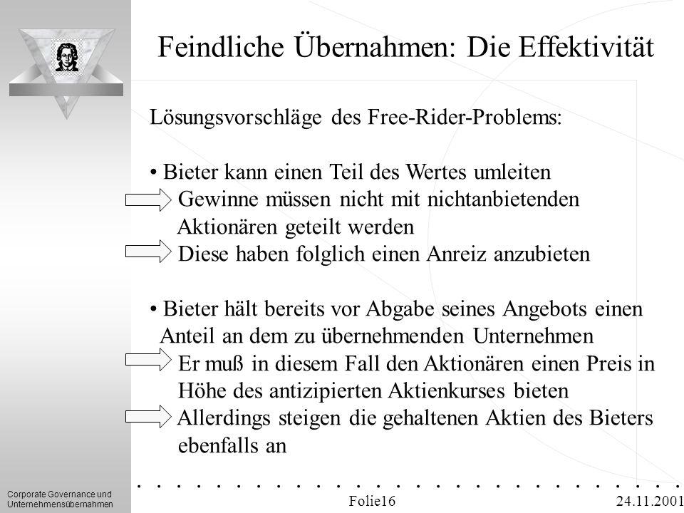 Corporate Governance und Unternehmensübernahmen.............. 24.11.2001 Feindliche Übernahmen: Die Effektivität Folie16 Lösungsvorschläge des Free-Ri