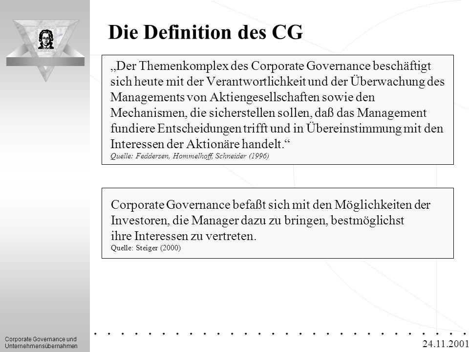 """Corporate Governance und Unternehmensübernahmen.............. 24.11.2001 Die Definition des CG """"Der Themenkomplex des Corporate Governance beschäftigt"""