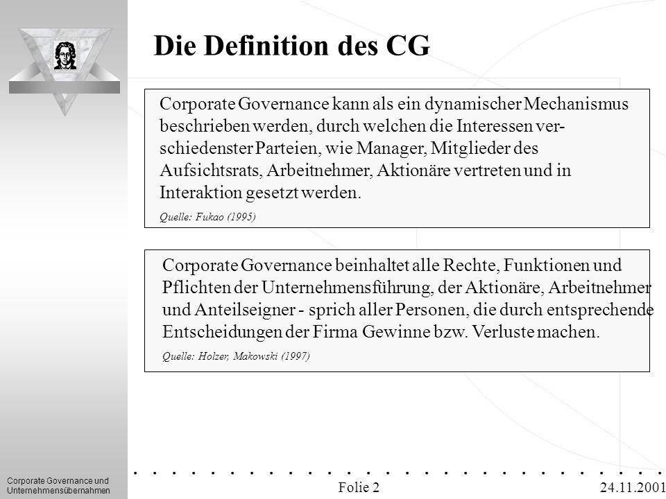 Corporate Governance und Unternehmensübernahmen.............. 24.11.2001 Die Definition des CG Corporate Governance kann als ein dynamischer Mechanism