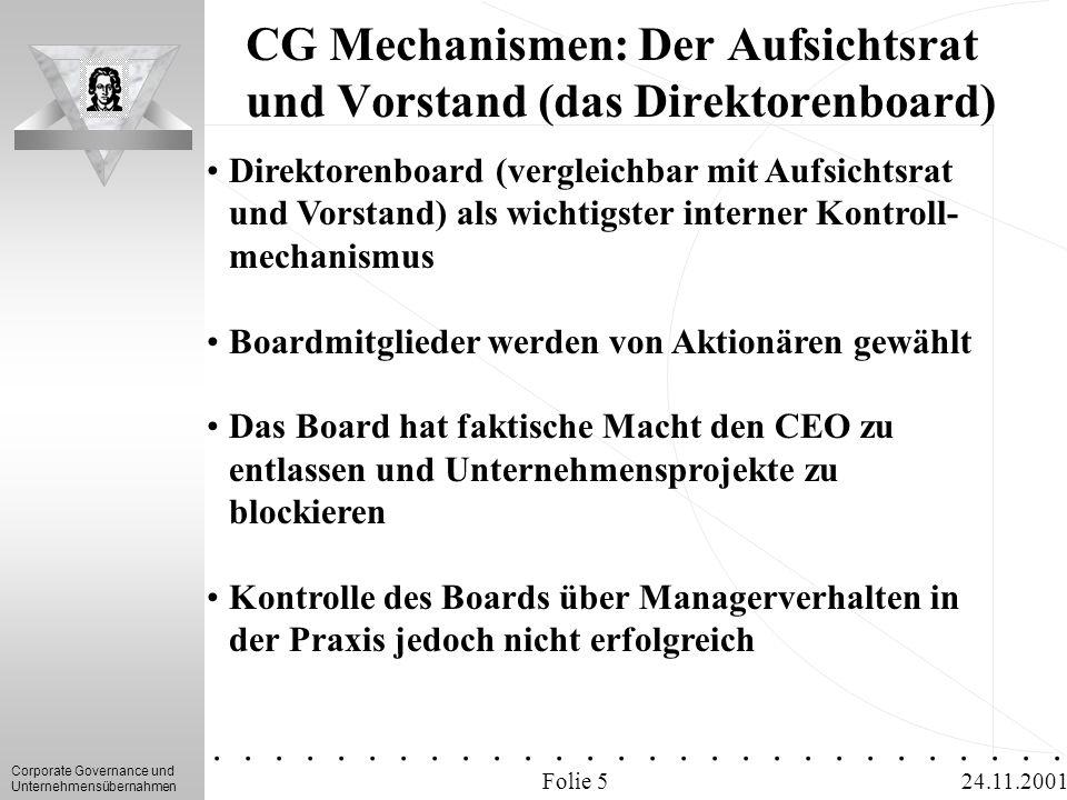 Corporate Governance und Unternehmensübernahmen.............. 24.11.2001 CG Mechanismen: Der Aufsichtsrat und Vorstand (das Direktorenboard) Folie 5 D