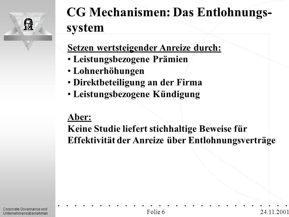 Corporate Governance und Unternehmensübernahmen.............. 24.11.2001 CG Mechanismen: Das Entlohnungs- system Folie 6 Setzen wertsteigender Anreize