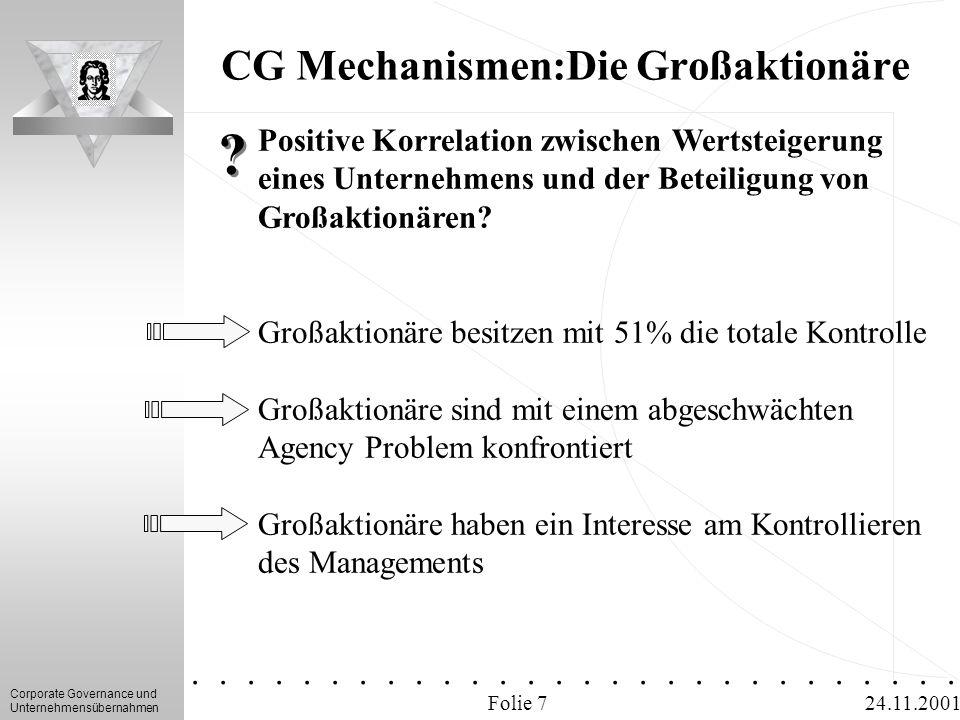 Corporate Governance und Unternehmensübernahmen.............. 24.11.2001 CG Mechanismen:Die Großaktionäre Folie 7 Positive Korrelation zwischen Wertst