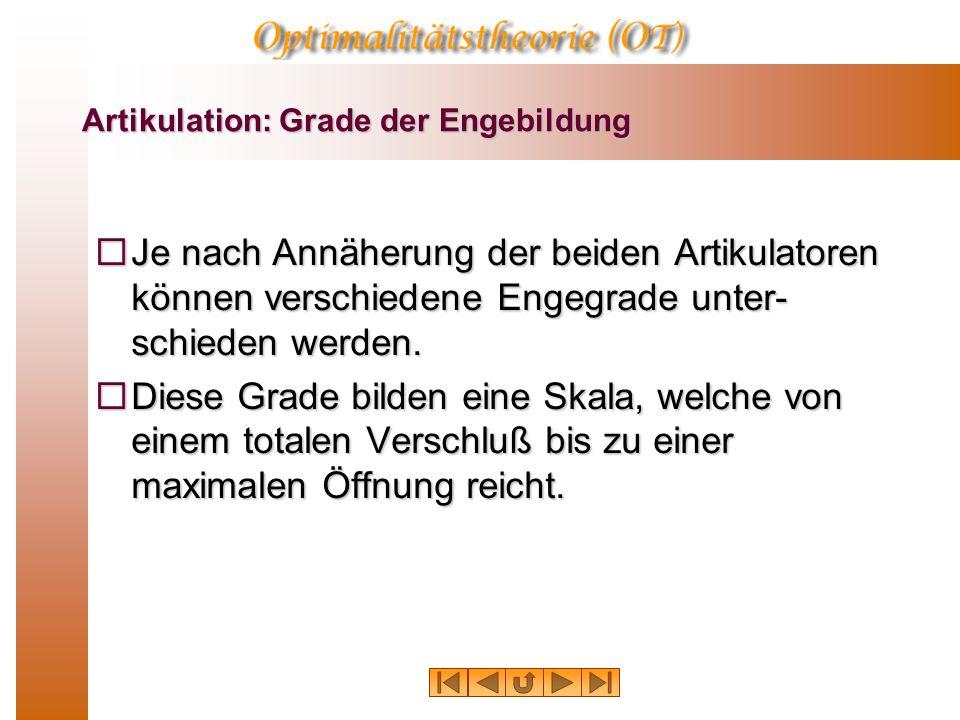 Artikulation: Grade der Engebildung  Je nach Annäherung der beiden Artikulatoren können verschiedene Engegrade unter- schieden werden.