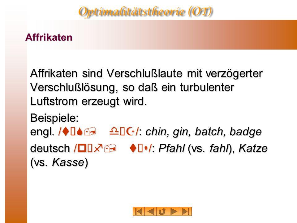 Affrikaten  Segmente wie /pƒf tƒs/ im Deutschen oder /tƒS dƒZ/ sind sowohl Verschlußlaute, als auch als Frikative. Man nennt solche Laute Affrikaten.