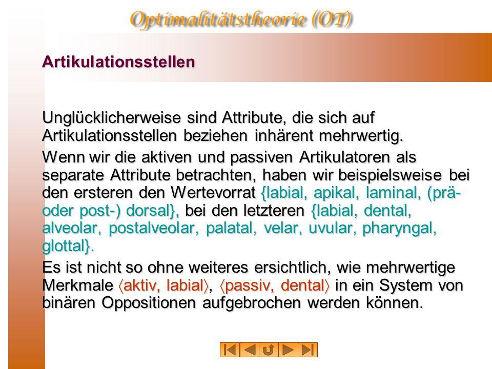 Artikulation  Plosivlaute/p b t d k g/  Affrikaten/tƒS dƒZ/  Frikative/f v T D s z S Z h ú/  Nasale/m n N/  Liquide/l r/  Gleitlaute (Halbvokale