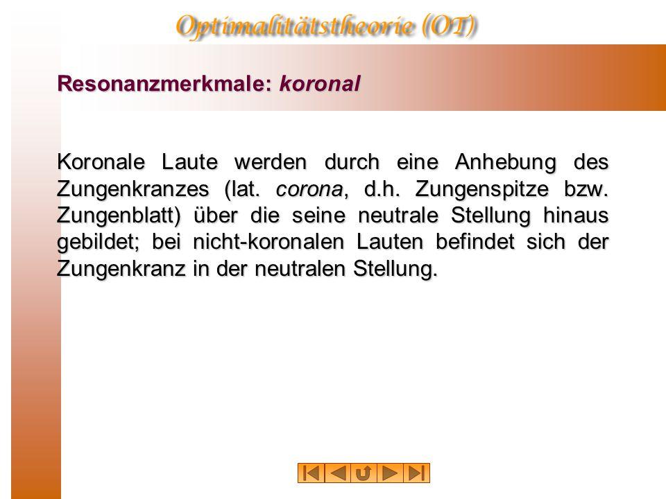 """Resonanzmerkmale Zunächst wird mithilfe der Merkmale """"koronal-nicht- koronal"""" und """"anterior-nicht-anterior"""" eine vierfache Unterteilung vorgenommen."""