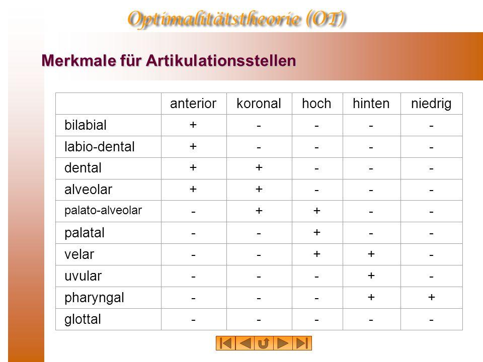 Zungenrücken-Merkmale: hinten Hintere Laute werden dadurch gebildet, daß der Zungenrücken im Vergleich zur neutralen Stellung zurückgezogen ist. [+hin
