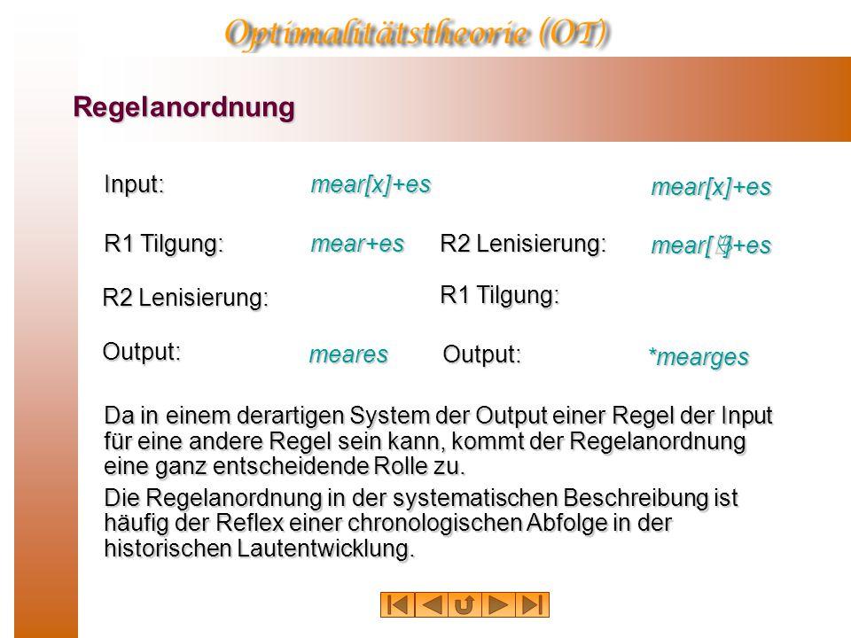 Regelanordnung Die Erklärung für die Alternationen mearh – meares, eolh –eoles etc. ist, dass im gleichen Kontext, in dem Lenisierung stattfand der Ve