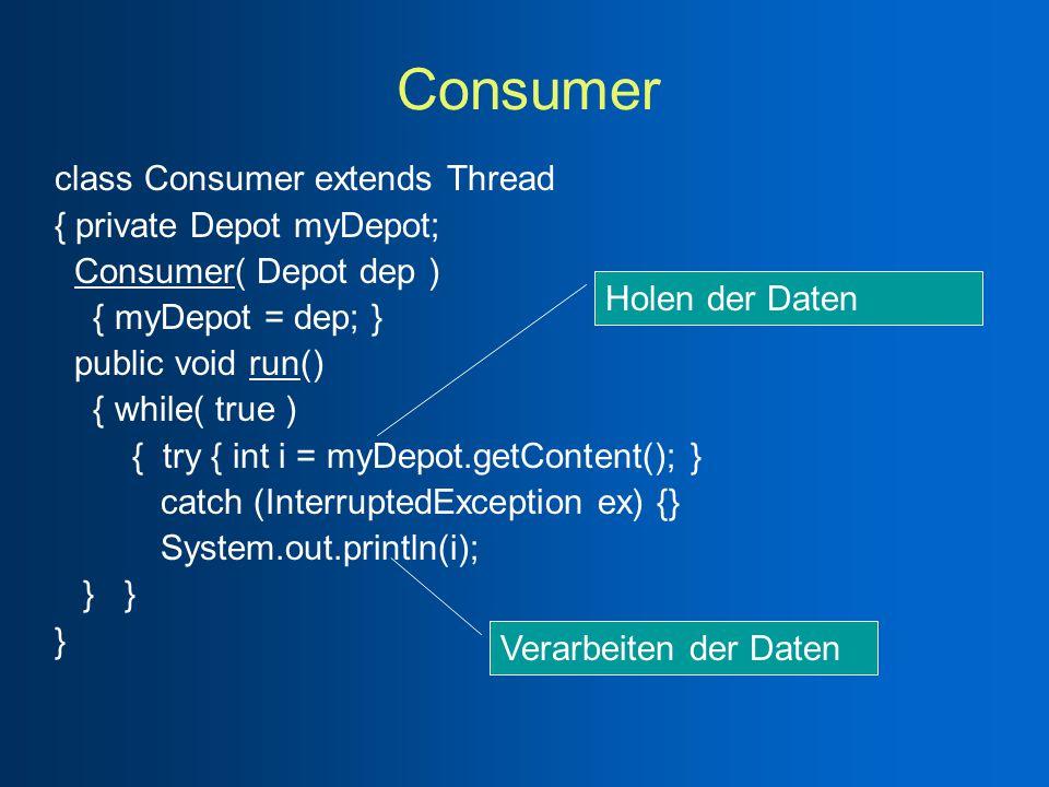 Consumer class Consumer extends Thread { private Depot myDepot; Consumer( Depot dep ) { myDepot = dep; } public void run() { while( true ) { try { int i = myDepot.getContent(); } catch (InterruptedException ex) {} System.out.println(i); } } } Holen der Daten Verarbeiten der Daten