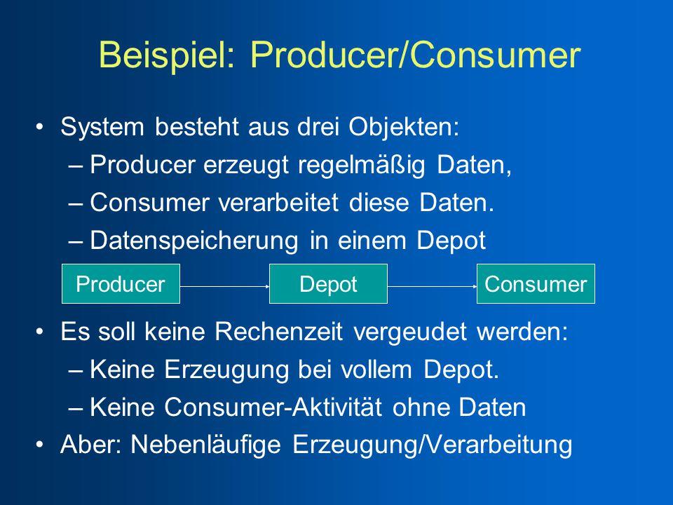 System besteht aus drei Objekten: –Producer erzeugt regelmäßig Daten, –Consumer verarbeitet diese Daten.