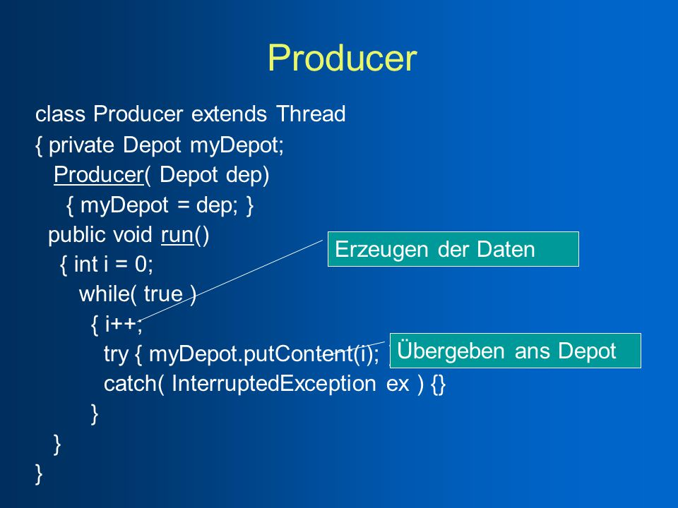 Producer class Producer extends Thread { private Depot myDepot; Producer( Depot dep) { myDepot = dep; } public void run() { int i = 0; while( true ) { i++; try { myDepot.putContent(i); } catch( InterruptedException ex ) {} } Erzeugen der Daten Übergeben ans Depot