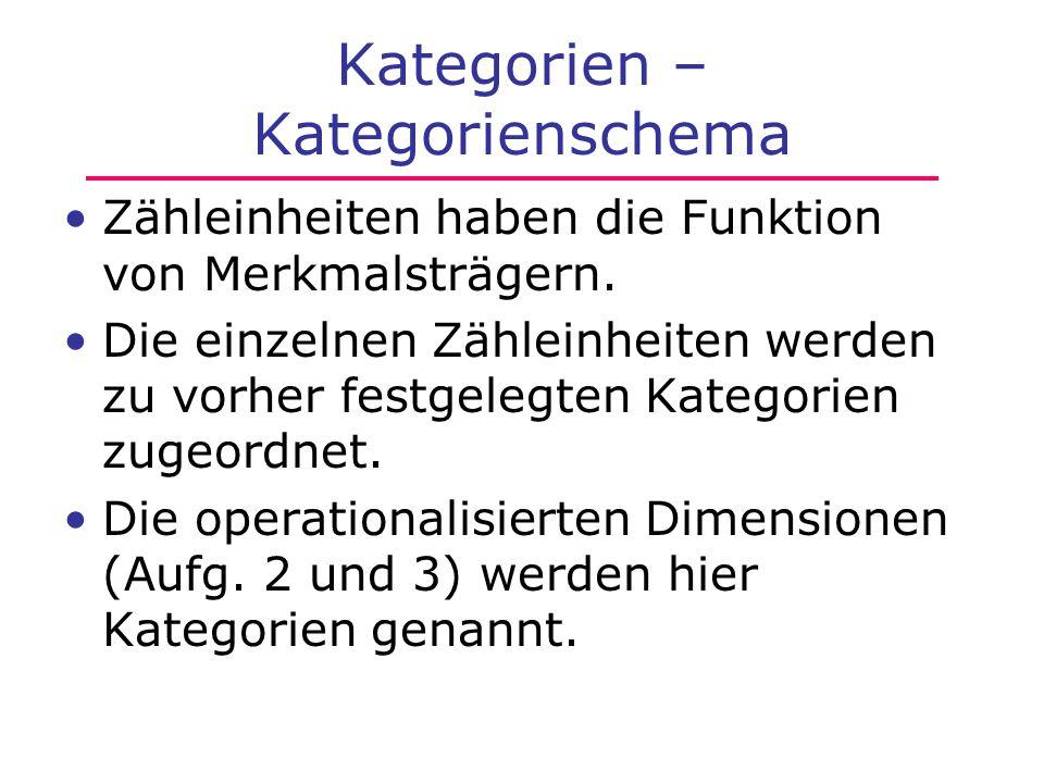 Kategorien – Kategorienschema Zähleinheiten haben die Funktion von Merkmalsträgern. Die einzelnen Zähleinheiten werden zu vorher festgelegten Kategori