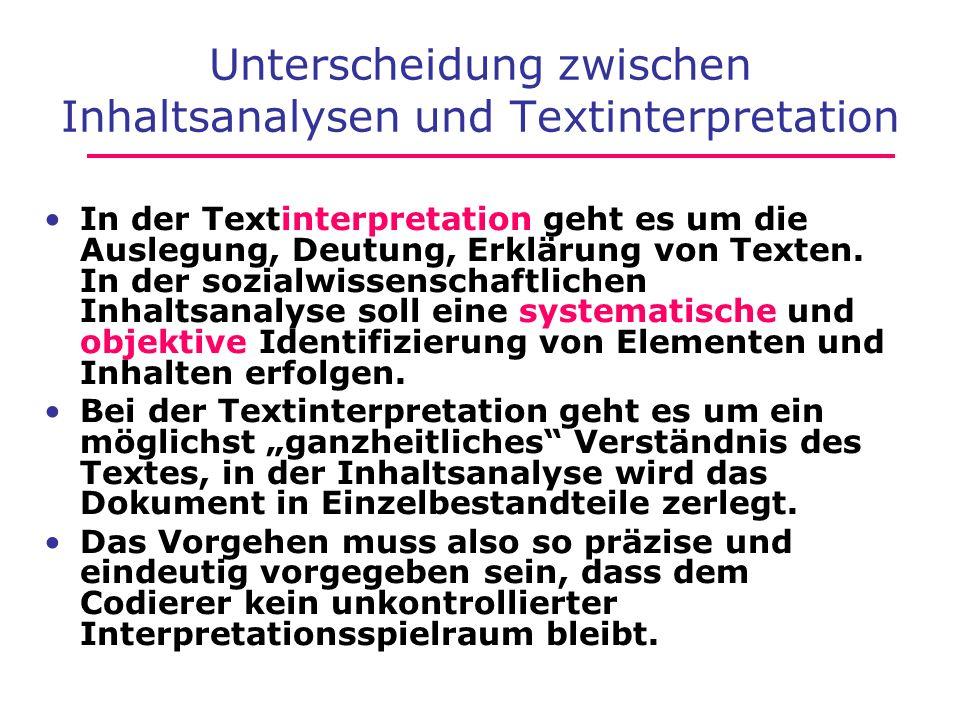 Unterscheidung zwischen Inhaltsanalysen und Textinterpretation In der Textinterpretation geht es um die Auslegung, Deutung, Erklärung von Texten. In d