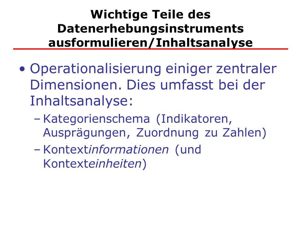 Wichtige Teile des Datenerhebungsinstruments ausformulieren/Inhaltsanalyse Operationalisierung einiger zentraler Dimensionen. Dies umfasst bei der Inh