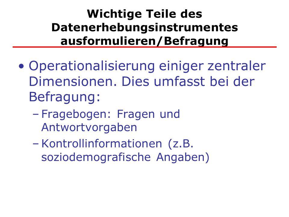 Wichtige Teile des Datenerhebungsinstrumentes ausformulieren/Befragung Operationalisierung einiger zentraler Dimensionen.