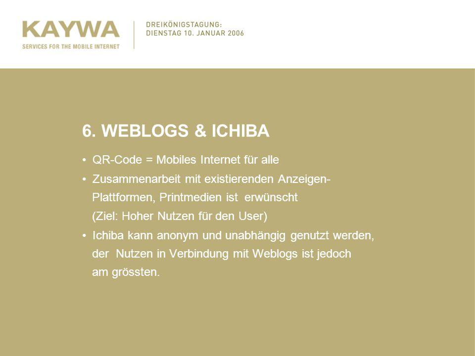 6. WEBLOGS & ICHIBA QR-Code = Mobiles Internet für alle Zusammenarbeit mit existierenden Anzeigen- Plattformen, Printmedien ist erwünscht (Ziel: Hoher