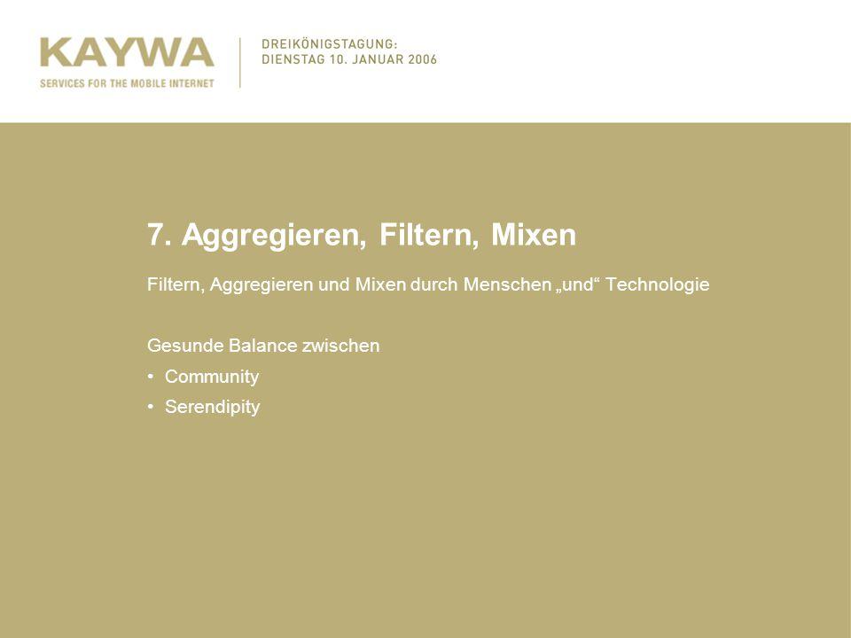"""7. Aggregieren, Filtern, Mixen Filtern, Aggregieren und Mixen durch Menschen """"und"""" Technologie Gesunde Balance zwischen Community Serendipity"""