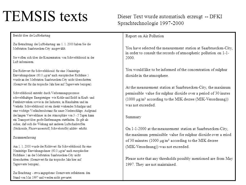 TEMSIS texts Bericht über die Luftbelastung Zur Betrachtung der Luftbelastung am 1. 1. 2000 haben Sie die Meßstation Saarbruecken-City ausgewählt. Sie