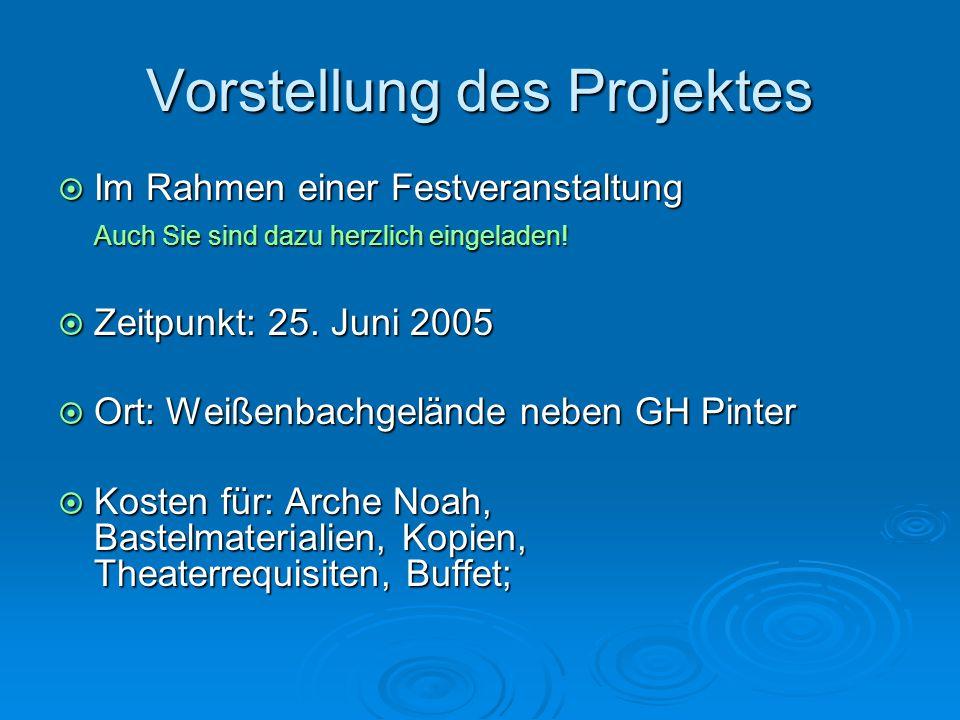 Vorstellung des Projektes  Im Rahmen einer Festveranstaltung Auch Sie sind dazu herzlich eingeladen!  Zeitpunkt: 25. Juni 2005  Ort: Weißenbachgelä