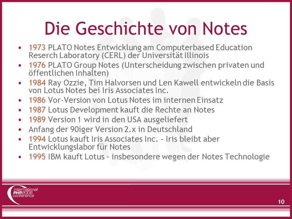 10 Die Geschichte von Notes 1973 PLATO Notes Entwicklung am Computerbased Education Reserch Laboratory (CERL) der Universität Illinois 1976 PLATO Group Notes (Unterscheidung zwischen privaten und öffentlichen Inhalten) 1984 Ray Ozzie, Tim Halvorsen und Len Kawell entwickeln die Basis von Lotus Notes bei Iris Associates Inc.