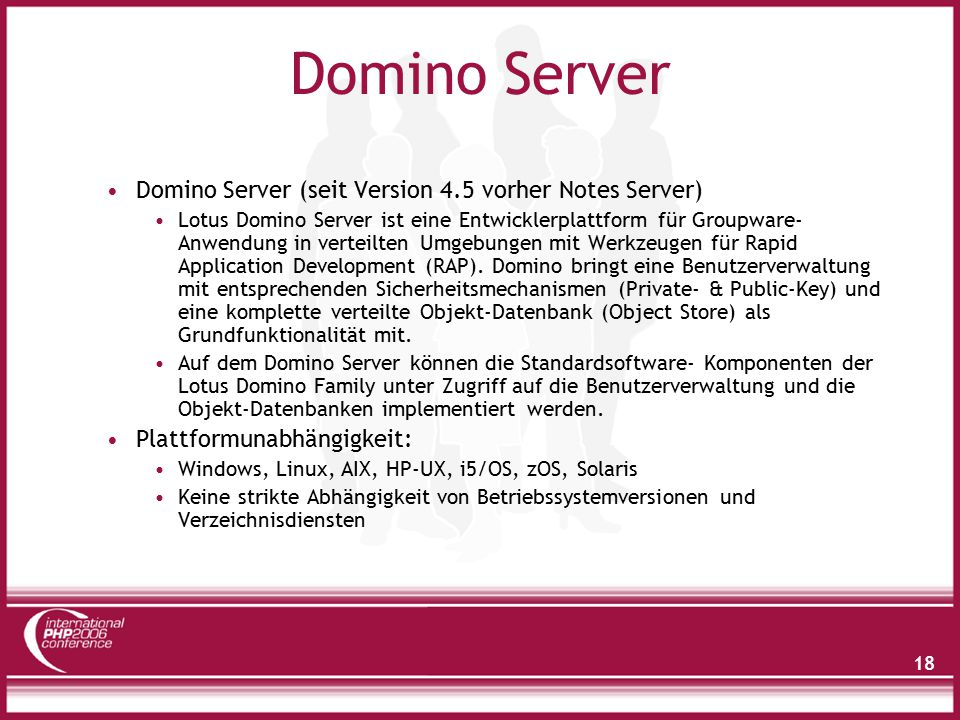 18 Domino Server Domino Server (seit Version 4.5 vorher Notes Server) Lotus Domino Server ist eine Entwicklerplattform für Groupware- Anwendung in ver