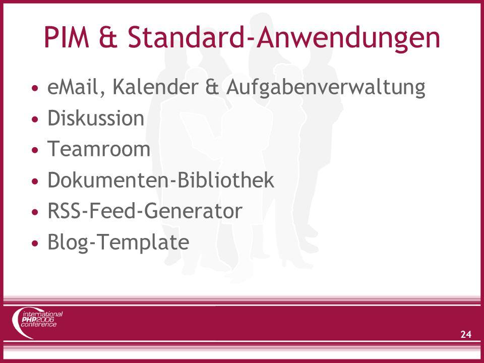 24 PIM & Standard-Anwendungen eMail, Kalender & Aufgabenverwaltung Diskussion Teamroom Dokumenten-Bibliothek RSS-Feed-Generator Blog-Template