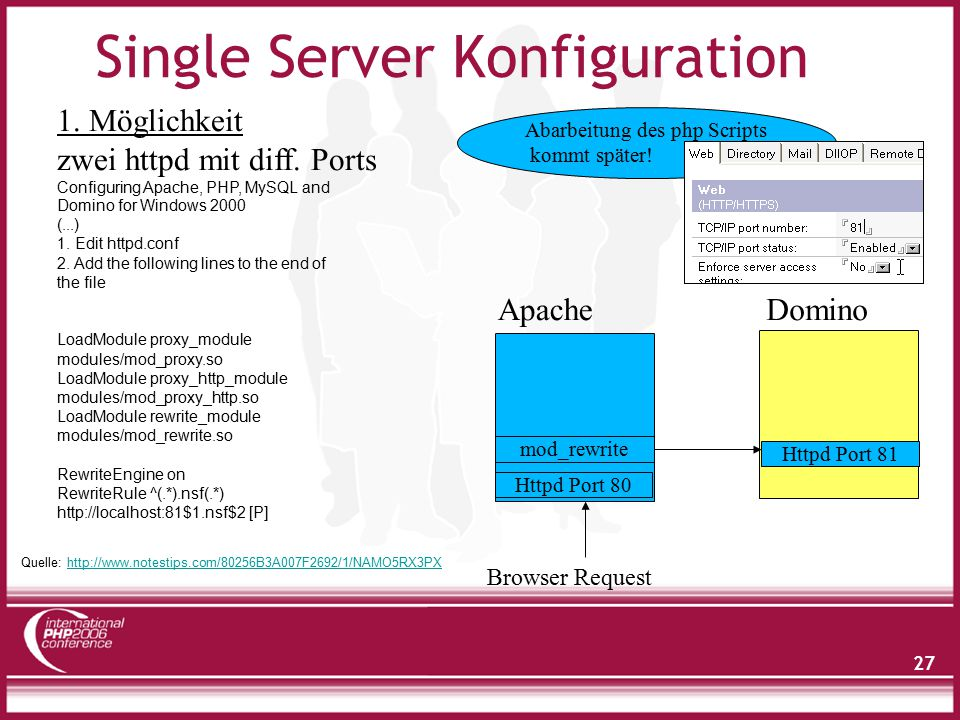 27 Single Server Konfiguration 1. Möglichkeit zwei httpd mit diff. Ports Httpd Port 80 mod_rewrite Httpd Port 81 Browser Request ApacheDomino Abarbeit