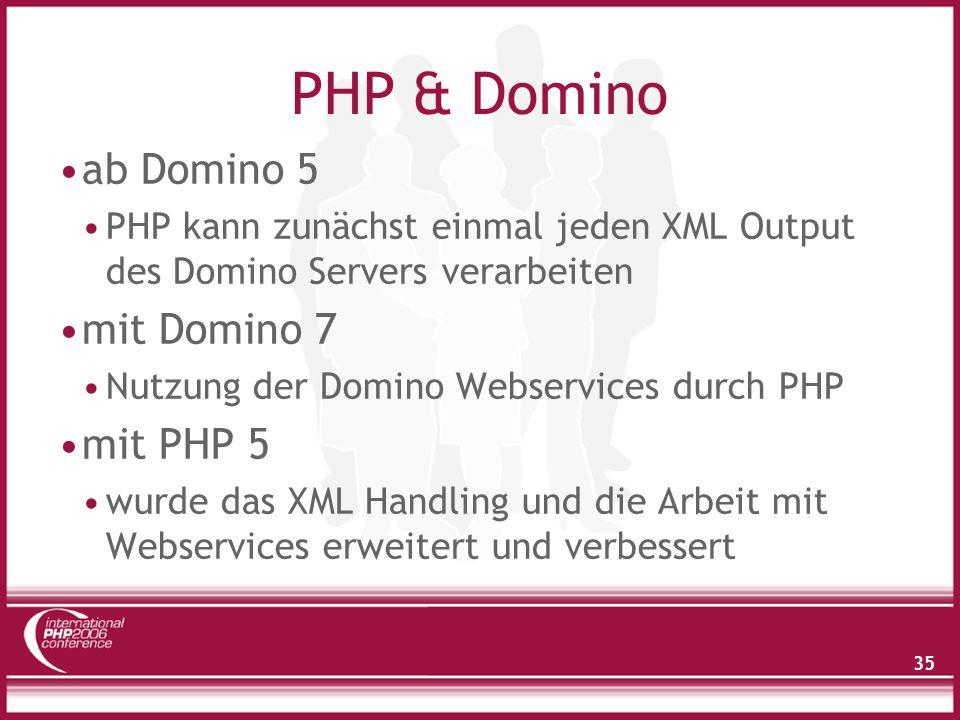 35 PHP & Domino ab Domino 5 PHP kann zunächst einmal jeden XML Output des Domino Servers verarbeiten mit Domino 7 Nutzung der Domino Webservices durch PHP mit PHP 5 wurde das XML Handling und die Arbeit mit Webservices erweitert und verbessert
