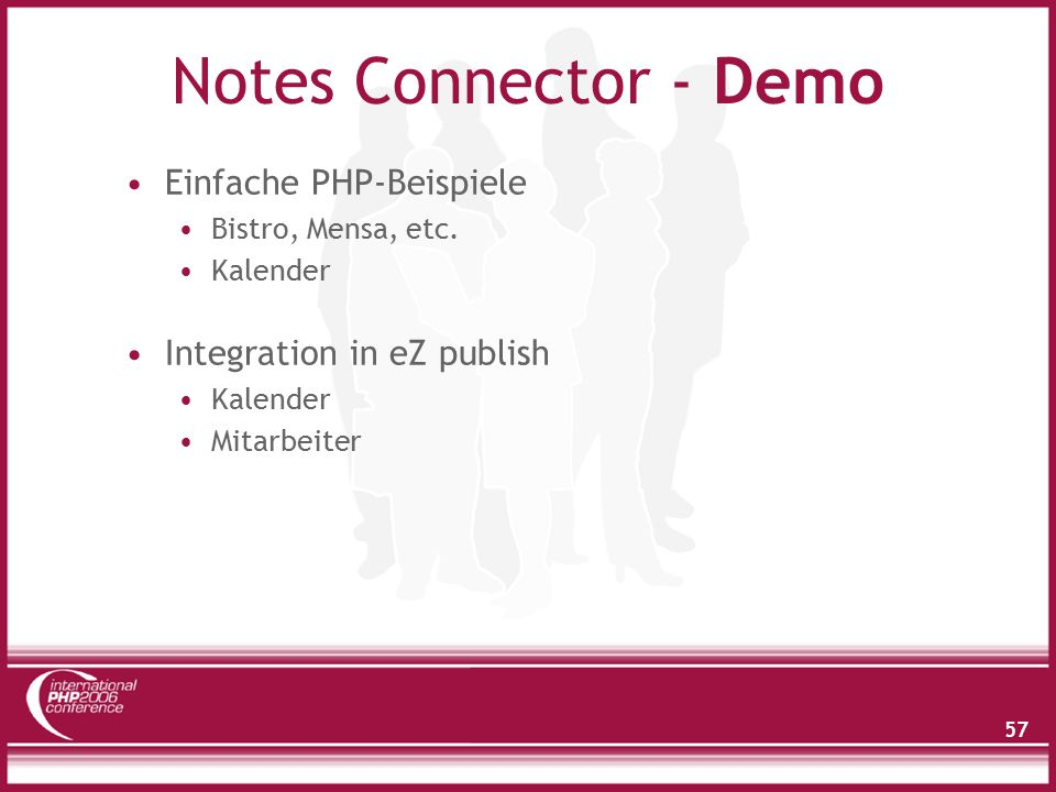 57 Notes Connector - Demo Einfache PHP-Beispiele Bistro, Mensa, etc. Kalender Integration in eZ publish Kalender Mitarbeiter