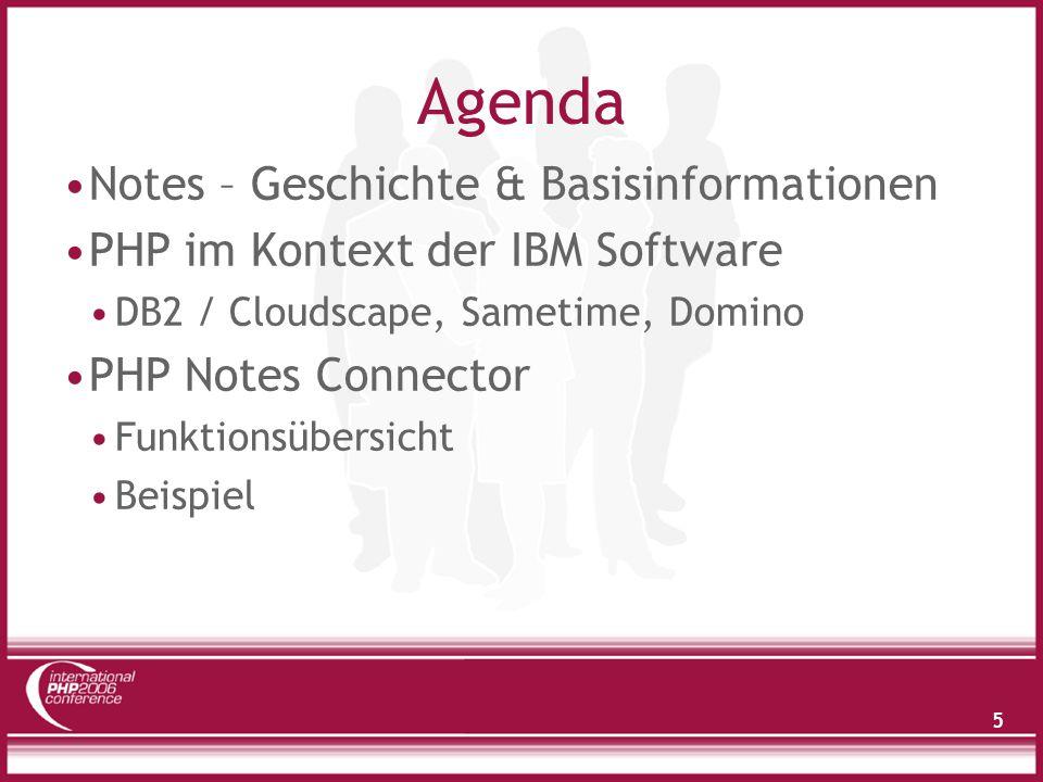 6 Agenda Notes – Geschichte & Basisinformationen PHP im Kontext der IBM Software DB2 / Cloudscape, Sametime, Domino PHP Notes Connector Funktionsübersicht Beispiel