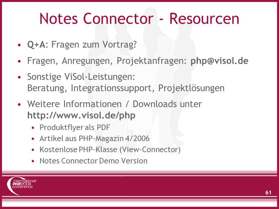 61 Notes Connector - Resourcen Q+A: Fragen zum Vortrag.