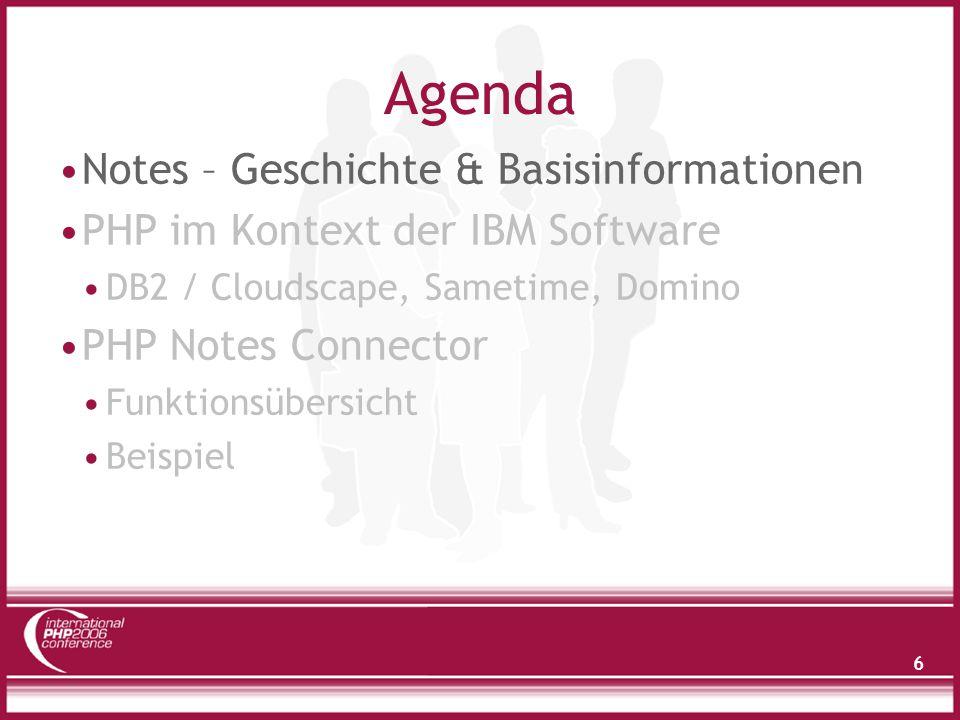 37 Agenda Domino – Geschichte & Basisinformationen PHP im Kontext der IBM Software DB2 / Cloudscape, Sametime, Domino PHP Notes Connector