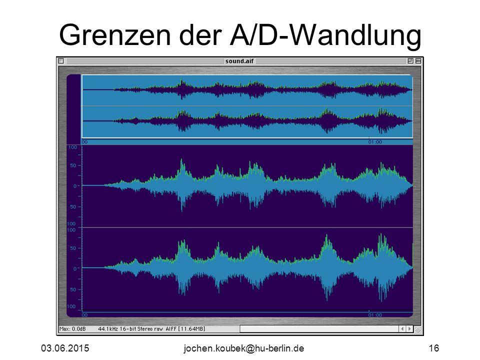 03.06.2015jochen.koubek@hu-berlin.de16 Grenzen der A/D-Wandlung