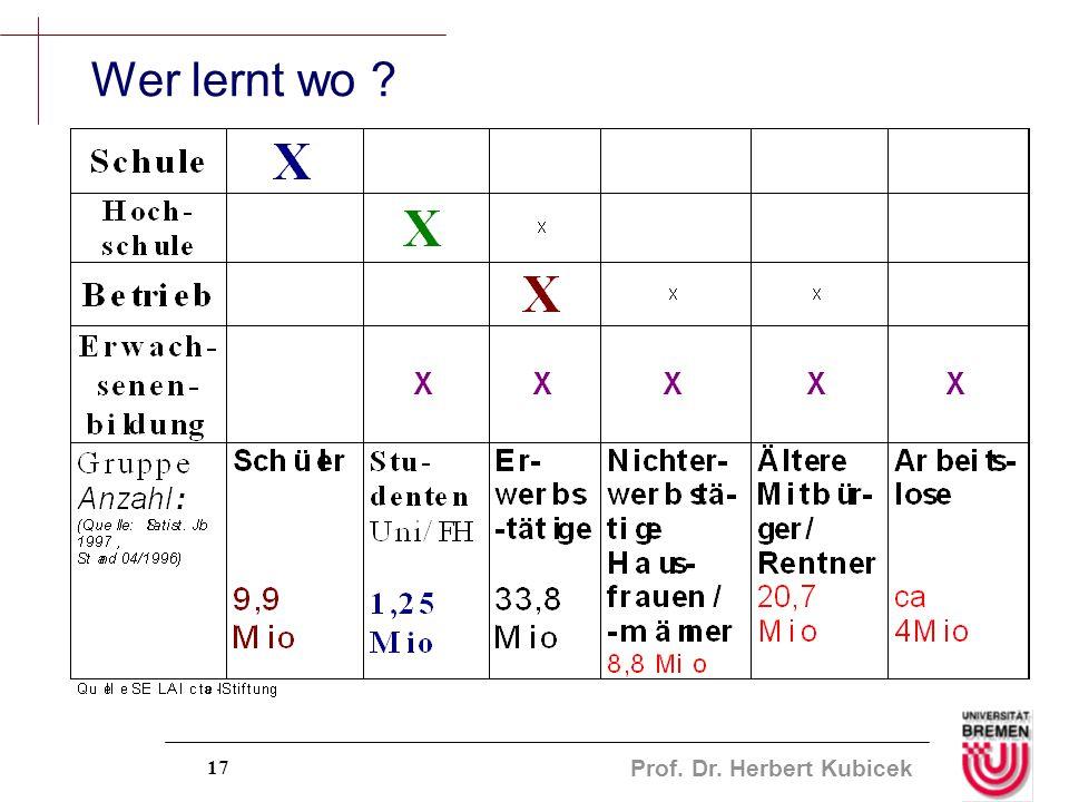 Prof. Dr. Herbert Kubicek 17 Wer lernt wo ?