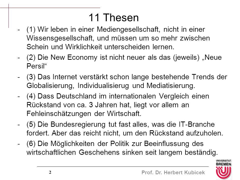 Prof. Dr. Herbert Kubicek 2 11 Thesen -(1) Wir leben in einer Mediengesellschaft, nicht in einer Wissensgesellschaft, und müssen um so mehr zwischen S