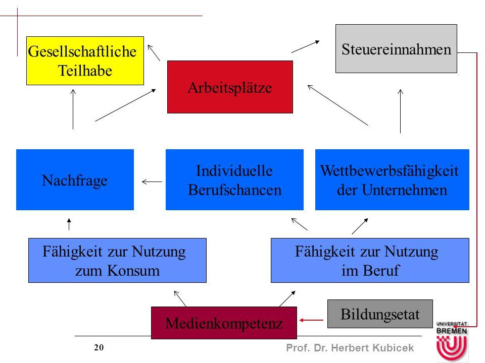 Prof. Dr. Herbert Kubicek 20 Medienkompetenz Fähigkeit zur Nutzung im Beruf Wettbewerbsfähigkeit der Unternehmen Individuelle Berufschancen Nachfrage
