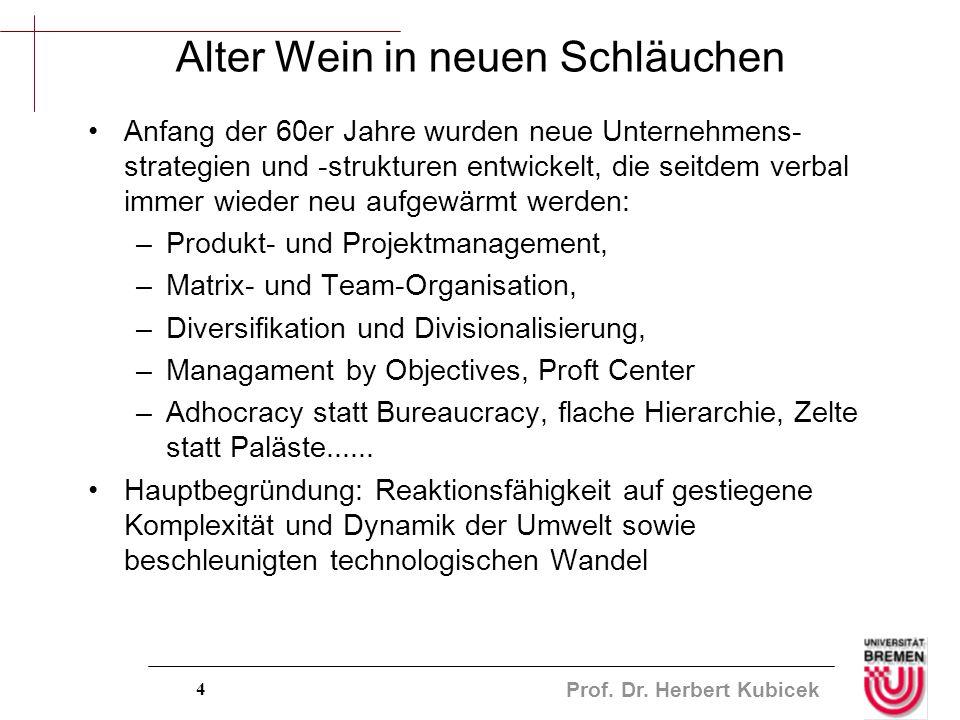 Prof. Dr. Herbert Kubicek 4 Alter Wein in neuen Schläuchen Anfang der 60er Jahre wurden neue Unternehmens- strategien und -strukturen entwickelt, die