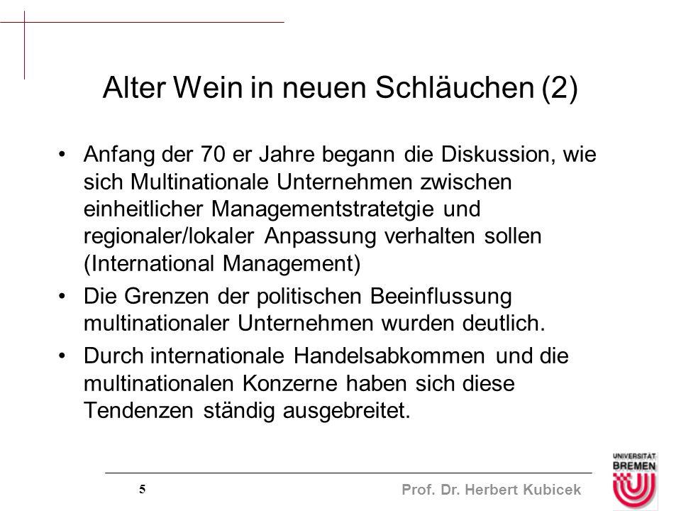 Prof. Dr. Herbert Kubicek 5 Alter Wein in neuen Schläuchen (2) Anfang der 70 er Jahre begann die Diskussion, wie sich Multinationale Unternehmen zwisc