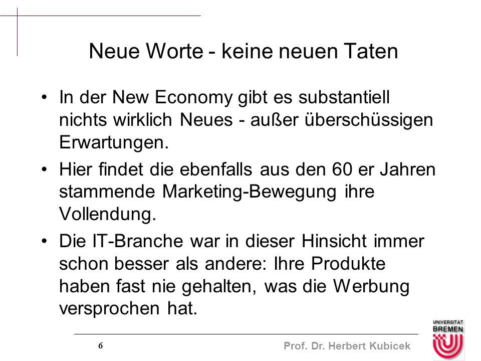 Prof. Dr. Herbert Kubicek 6 Neue Worte - keine neuen Taten In der New Economy gibt es substantiell nichts wirklich Neues - außer überschüssigen Erwart